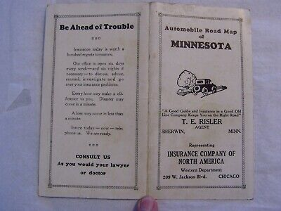 Antique 1925 - 1926 Fold Out Automobile Road Map Of Minnesota Gas Oil Auto