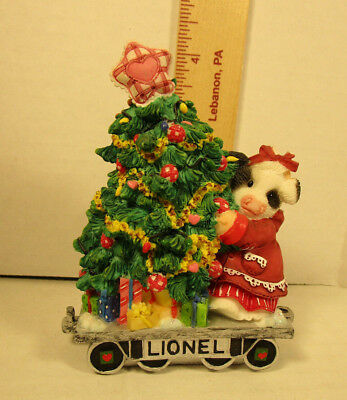 Mary's Moo Moos  Lionel  Girl  With Christmas Tree Figurine  858544