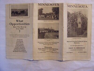 Antique 1917 Fold Out Map Of Minnesota & Info By The State Board Of Immigration
