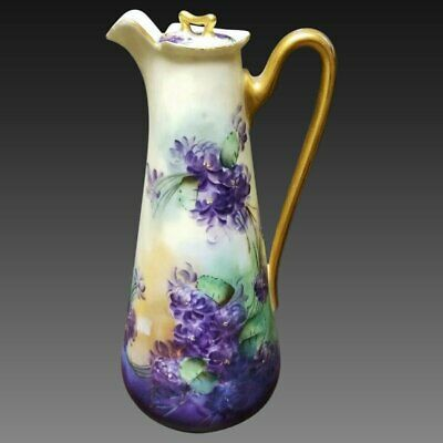 Limoges Hand Painted Violet Chocolate Pot