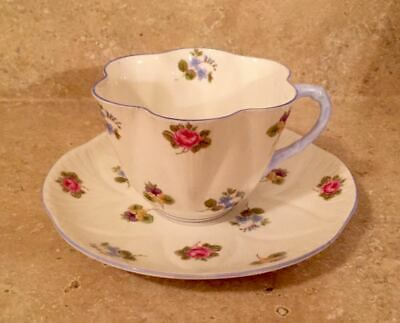 Shelley Fine Bone China Cup Saucer Rose Pansy Forget-Me-Not Dainty Shape