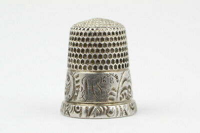 Antique Simons Bros Sterling Silver Thimble with Monogram
