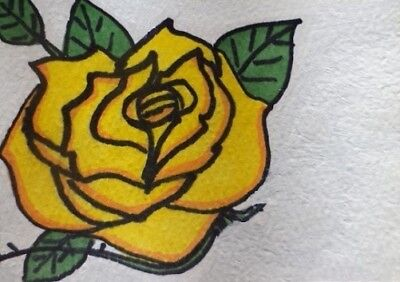 Aceo Original Watercolor Painting Rose Flower Leaves Leaf Graphic