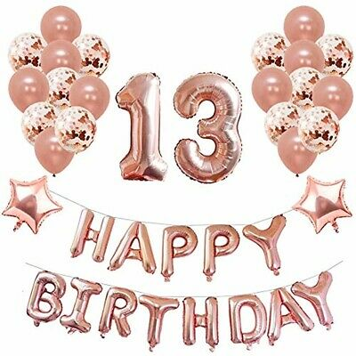 Happy 13th Birthday Party Decorations Banner Confetti Latex Balloons Rose Gold