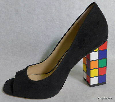 dd4f793a558b NEW KATY PERRY Black Suede Peep Toe Rubik s Cube Block Heel CAITLIN Shoes  7.5