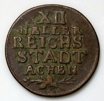 1792 Free Imperial City of Aachen German States 12 Heller Coin KM# 51