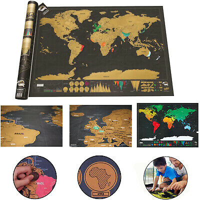 Scratch Off World Map Deluxe Edition Travel Log Journal Poster Wall Decor Small