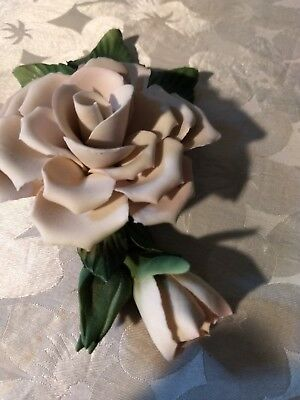 Capodimonte Porcelain Flowers Roses White with Blush of Pink Painter's