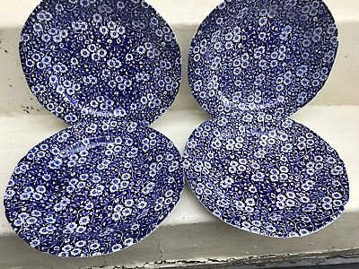 "Staffordshire  Burleigh "" Calico ""  Lot Of 4  Dinner Plates  10 1/2 ""   A ++"