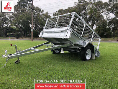 7x5 BOX TRAILER FULLY WELDED HOT DIP GALVANISED ATM 750KG WITH 600mm CAGE NEW TY