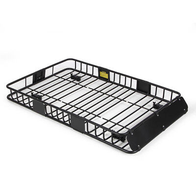 """64"""" Universal Black Roof Rack Cargo Carrier w/ Extension Luggage Hold Basket SUV"""