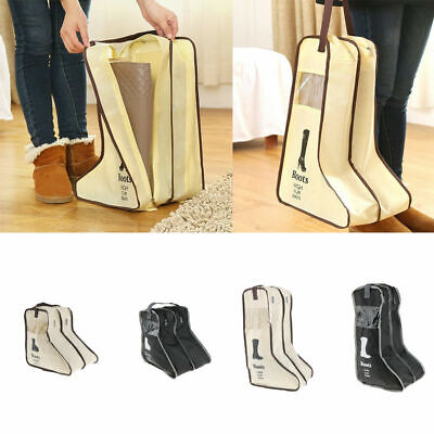 New Boots Storage Bag Case Travel Shoes Cover Dustproof Protector Zipper Beige S