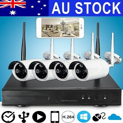 WIFI Wireless CCTV HD 4CH Channel NVR Security Camera Recorder System Video Set
