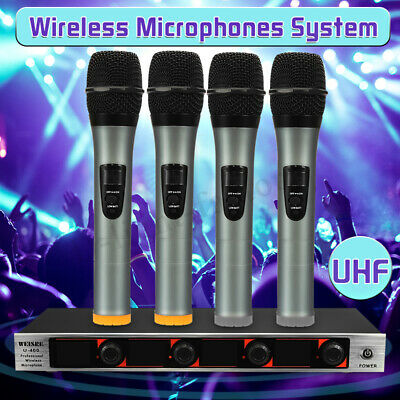 Wireless Microphone System 4 Channel 4 Handheld Mic Receiver UHF LCD Display Kit