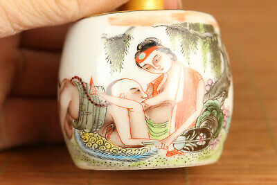 Rare chinese old porcelain hand painting Art dragon Statue snuff bottle