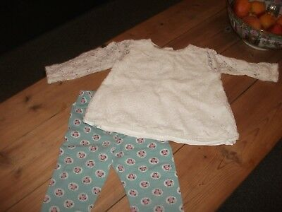 Monsoon  Baby Girls Leggings & Lace Top Outfit  Age  12-18  Months
