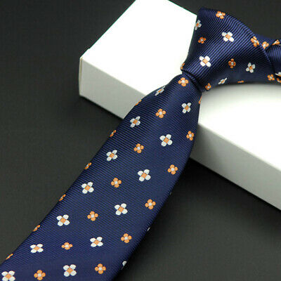 #1 Skinny Tie Jacquard Woven Slim Men's Necktie Wedding Hot Silk Plain