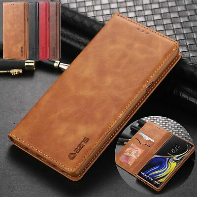 For Samsung S10 Plus S8 S9 Note 9 Magnetic Leather Wallet Case Flip Stand Cover
