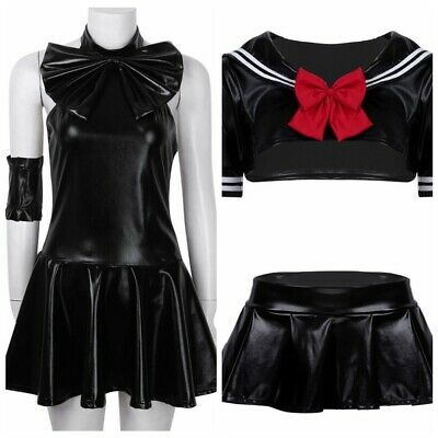 Sexy Women Leather Sailor Backless School Uniform Fancy Dress Cosplay Costume