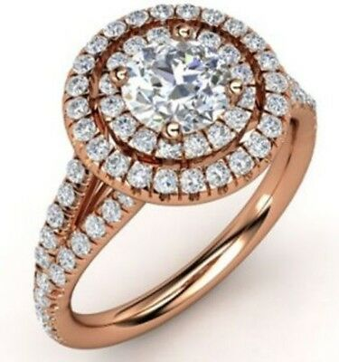 2.10CT Round Cut Diamond Engagement Anniversary Ring Solid 14k Rose Gold