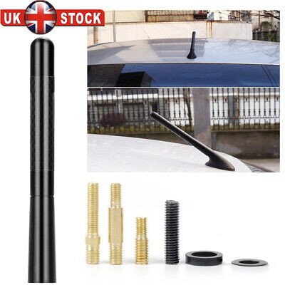 "5"" Car Bee-Sting Stubby Short Carbon Fibre Aerial Ariel Arial Mast Antenna Black"