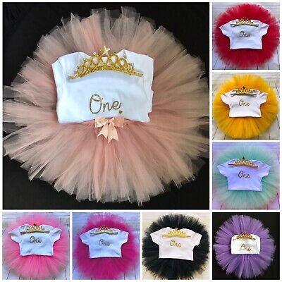 Girls First Birthday Outfit Cake Smash Outfit  1st Birthday Tutu Set & Tiara