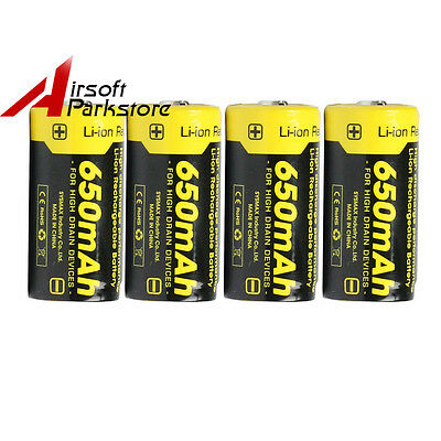 4X Nitecore NL166 16340 650mAh RCR123A Protected Li-ion Rechargeable Batteries