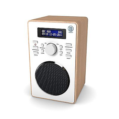 Majority Barton Compact Digital DAB+ DAB FM Radio Wood Effect Alarm Clock