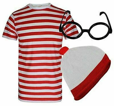 NEW GIRLS WOMENS WHERES WALLY STRIPS T-SHIRT KIT HEN PARTY COSTUME BOOK WEEK DAY