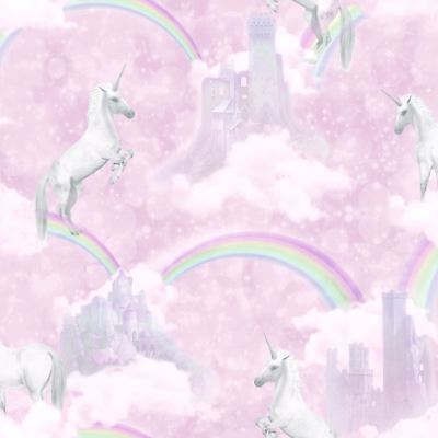 I Believe In Unicorns Wallpaper Pink - Holden Decor 12480 Rainbows