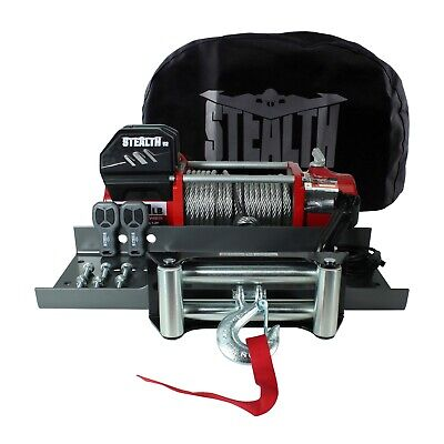 Stealth V2 13000lb 12v Winch with Steel Rope, Mounting Plate & Stealth Cover