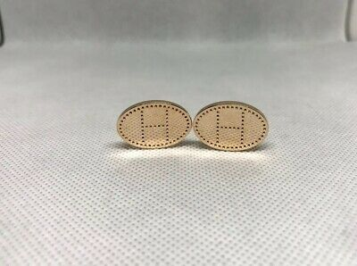 Pairs Hermes Cufflinks H Stainless steel rose gold colour