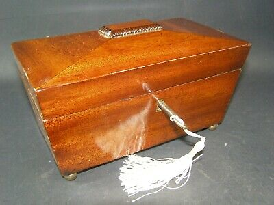 Antique Mahogany Desk Top Box Working Lock & Key c1870 Sloping Lid, Brass Feet