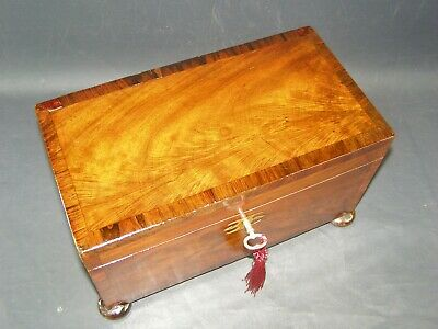 Antique Flame Mahogany Georgian Letter Box Working Lock & Key c1780 Banded Edge
