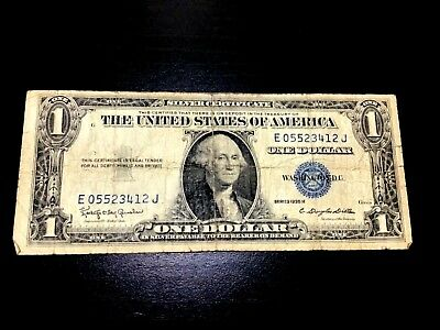 1935-H $1 Silver Certificate One Dollar Bill Note With The Motto In God We Trust