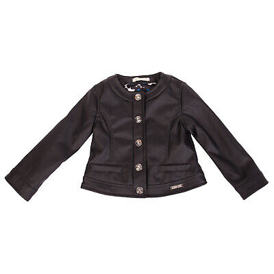 LIU JO Baby Jacket Size 18M PU Leather Fully Lined Logo Detail Popper Front