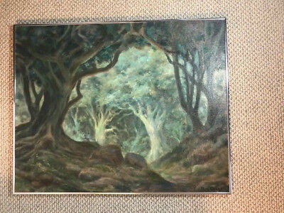 """Ben Carre """"into The Woods"""" Framed  Oil Painting Mgm Art Director Calif. Artist"""