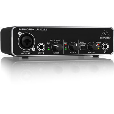Behringer UMC22 U-Phoria 2x2 USB Audio Interface with MIDAS Mic Preamp *NEW*