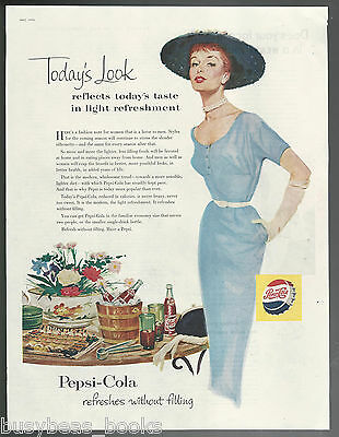 1954 PEPSI advertisement, red-head lady at party, Pepsi-Cola large size ad