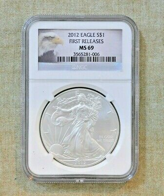 2012 American Silver Eagle - Ngc Slabbed - Ms 69 - First Releases