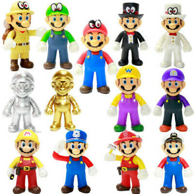 Super Mario Odyssey Golden Mario Luigi Action Figure PVC Doll Toy Gifts 12.5CM