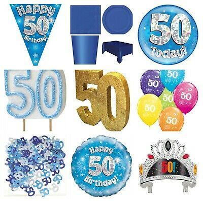 Blue 50th Birthday Party Decorations Tableware Banner Candle Balloons Boy