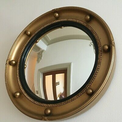 Vintage Round Convex Mirror Gold Ball Mid Century Regency Style Porthole m113