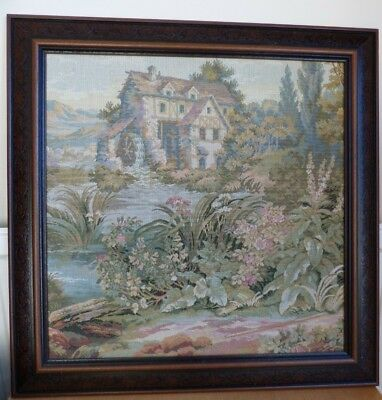 Antique Framed Tapestry Italian Old Water Mill Garden Picture Francois Boucher