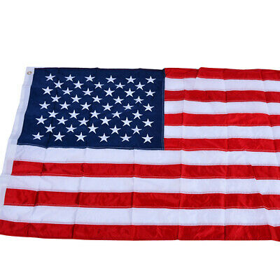 3x5 Ft USA American Flag Deluxe Embroidered Stars Sewn Stripes Grommets
