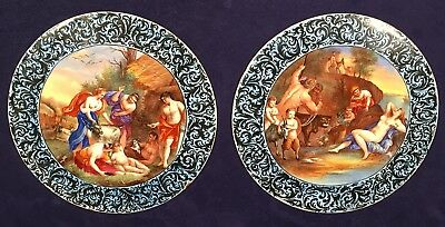 Pair Of Beautiful Antique Hand Painted Enamel On Metal Disc Or Plate