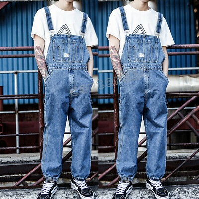 Mens Washed Denim Suspender Overalls Pants Casual Loose Jeans Dungarees Trousers