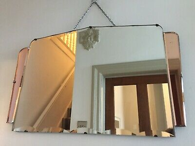 Vintage Frameless Peach Tinted Mirror Art Deco 1930s Bevelled Chain 64x41cm m115