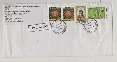 Airmail Cover to UK bearing four Moldovan stamps