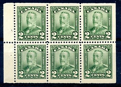 Weeda Canada 150a VF MNH/LH BP of 6, 2c green KGV Scroll issue CV $45